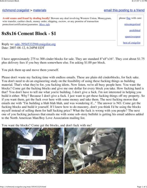 Anyone who has ever sold anything on Craigslist can relate to this AD  画