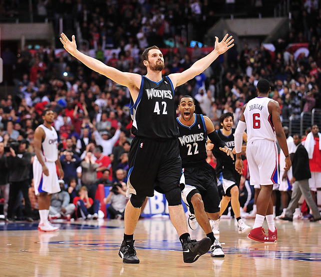 Timberwolves forward Kevin Love celebrates after scoring the game winning three-pointer basket at the end of regulation against the Clippers during. Minnesota is expected to sign Love to the maximum contract this week. (Gary A. Vasquez-US PRESSWIRE) JENKINS: Love finally has reason to stay in MinnesotaLOWE: Love worth max deal, Gordon not so much