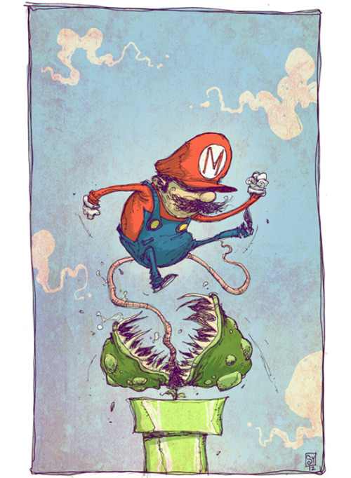 Mario is taking care of business in this stylized fan art illustration by talented artist Skottie Young. You can check out more of his work here. Super Mario Bros by Skottie Young (Art Blog) (deviantART) (Twitter)