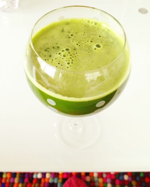 "All Good : All Green ~40 ounces Tastes like a garden in my mouth.. Which for me, and many of you juice lovers out there, is an awesome thing! Even though there are no flowers being put through the juicer, the cilantro in combination with the coconut water and stevia make it taste like there are. 1 large cucumber  1 head of celery  4 leaves lacinato kale  1 handful cilantro  1 lemon half peeled  1 lime half peeled  1 poblano pepper seeded  1/2"" ginger knob  8 oz fresh coconut water"