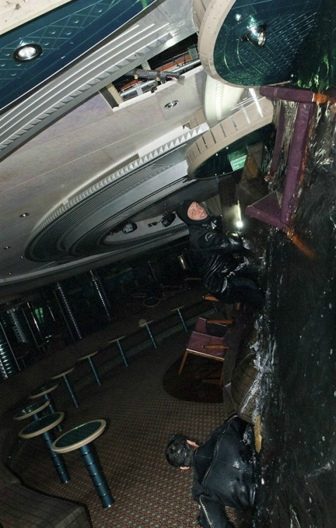 Inside the Costa Concordia ship. Photo: Italian Navy.