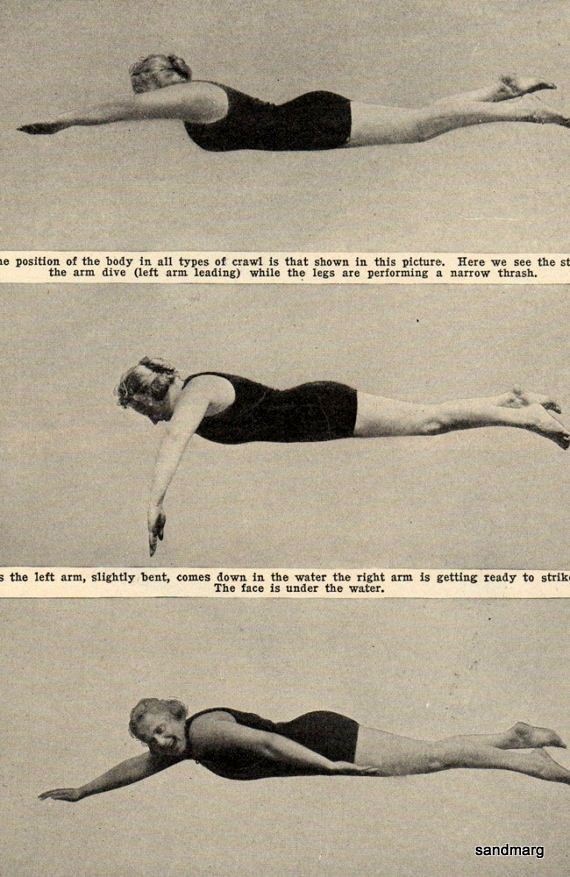 luellaloves:  sandmarg:  1922 How to Swim  haha yes.