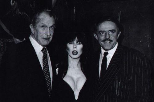 Vincent Price with miss Elvira and John 'Gomez Addams' Astin.