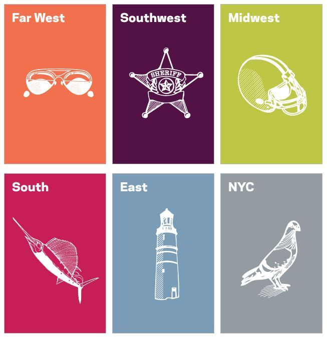 The six regions of American design: Far West, Southwest, Midwest, South, East… and NYC. Wait, what?