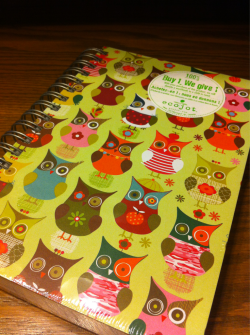 Look what i found at Paper Source today! A super cute owl diary :))) (for those of you who don't know, i am OBSESSED with owls.) The best part of this product is that it's made from 100% recycled materials and when you buy a diary from them, they donate a workbook to a child in need. Go Ecojot! Check out their adorable website at www.ecojot.com