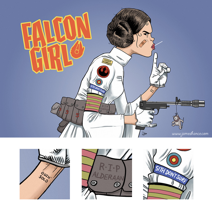 justinrampage:   Tank Girl and Star Wars explode into one incredible design by James Hance. Prints are now on sale at his online store (UK). Shirts available at RedBubble! Related Rampages: Smugglers Of The Labyrinth (More) Falcon Girl by James Hance (Facebook) (Twitter)  Via: jameshance