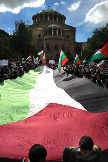 foreverpalestine:  Church and Palestine flag,protest in Bulgaria by Ruslan Trad on Flickr.