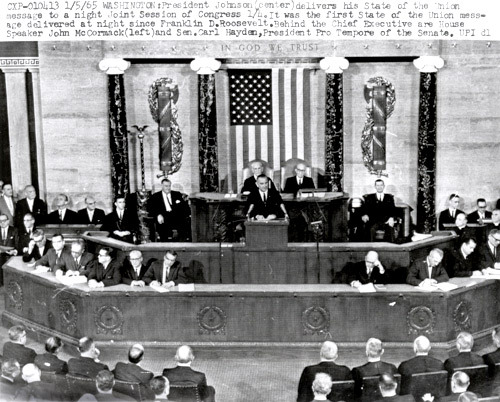 On January 4, 1965, President Lyndon Johnson delivered the first televised, evening State of the Union Address. (Office of the Clerk of the U.S. House of Representatives)