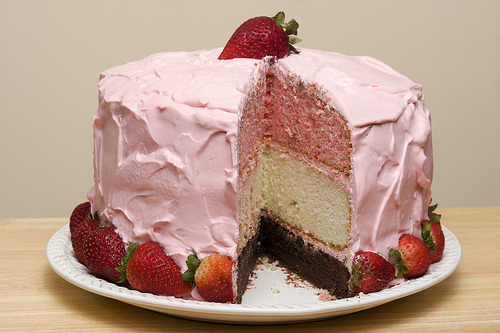 ilovedessert:   Neapolitan Cake with Strawberry Mascarpone Frosting (by G. H. Holt Photography)