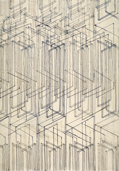 Joseff Hoffmann - Abstract Design (1915) Inchiostro blue e graphite, 42,2 x 29,5 cm