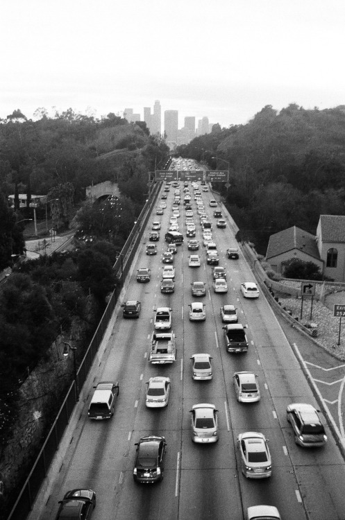 Traffic on the 110 Freeway heading south into Downtown LA  Los Angeles, CA (January 2012)