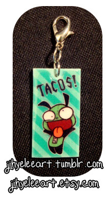"♠ ""TACOOOOSSS!!!"" This charm is made of hard plastic with a thick coat of resin that gives it a lovely 'raised glass' look! Buy one HERE!"
