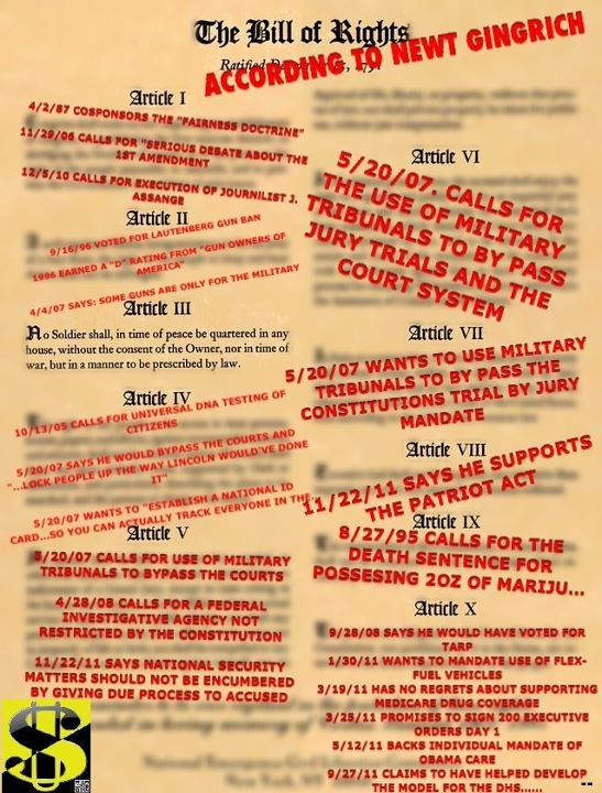 Bill of Rights according to Newt.