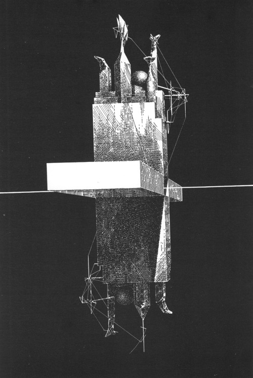 "LEBBEUS WOODS  EINSTEIN TOMB, 1980 ""The tomb is a vessel journeying outward on a beam of light emitted from earth, following an immense and subtle arc through the stars. For eons it will inhabit the dominions of space, until in a distant time it must return to the world of its beginning. Thus a cycle the epicycle of Space and Time will close. On that remotest day the dark corridors of the infinite will again become thresholds for departure, fading shores on the dark gulf of eternity. The form of the tomb has always been known; it existed as a sign in ancient codices, on countless maps of exploration."""