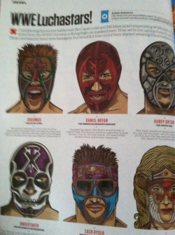 I'm a real big sucker for Lucha masks so I had to reblog. Loads of cool details like Randy's fangs, Brian's AmDrag and Beth's wings. Also if those shades are supposed to be part of the mask, it wins…everything.