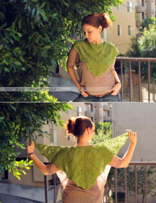 {made} — sour apple milkweed shawl. As soon as I saw this pattern I knew I had to make it. I purchased the pattern on raverly, started it with some multi-colored sock yarn I had actually dyed myself, but it wasn't looking right. The color changes just weren't how I envisioned it turning out, so I was on the hunt for a different yarn to use. This is sometimes tricky because I'm allergic to wool, which narrows the field a bit. Atlas, while home in Michigan for Thanksgiving, I found some linen based yarn to use in a bright sour apple green color.  I casted on right away and it became my traveling project while flying over the holidays. I finished it shortly after Christmas, so just over a month on the needles.  The linen is a tad slippery, so might keep my eye's peeled for a fun shawl pin to hold it in place. But other than that, I am in love with it!