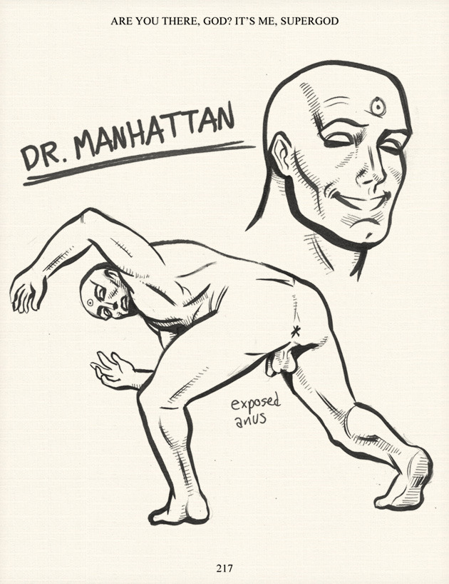 "dr manhattan by chip zdarsky (via warren ellis - GUEST INFORMANT: CHIP ZDARSKY'S WATCHMEN 2)warren ellis says: ""Comics creator Chip Zdarsky — dimly related by birth to Canada's National Post cartoonist and  thwarted Toronto mayoral candidate Steve Murray — is currently writing  his autobiography, and has very kindly shared a chapter of said tome  with me.  Herein, he relates the story of the time he was offered the  job of creating the WATCHMEN comics sequel.""[zdarsky = funniest canadian ever!]"