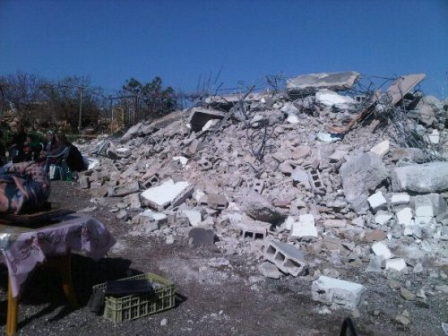 "frompalestinewithlove:  The Israeli Committee Against House Demolition rebuilt this house for the Abu Omar family this past summer. Today, the it has once again been demolished.  This house I helped rebuild this past summer. It was destroyed again this cold January morning because Israel claims it to be a threat to its national security. While I completely guarantee you that Abu Omar and Ms. Arabiya were a very peaceful couple that would not hurt a fly, Israel saw them as terrorists. I felt a huge plunge in my heart as I saw the rubble of what was once a project that left a hand print in me; I cannot fathom a word that can describe how I feel right now. Its a mix of emotions. I feel like all the strenuous hours we've spent under the blazing sun has gone to waste, at the same time I am worried about the residents of the house. This repulsive act is a testimony to the ""only democracy in the Middle East"", the beacon of human rights! - Palestinian high school senior that helped rebuild this home, Walid Mosarsaa'  Once again, the family will return to living in tents."