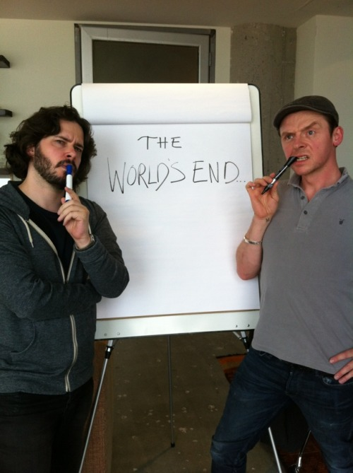 Edgar Wright and Simon Pegg got attention as the director and co-writer/star, respectively, of the TV show Spaced, then built themselves a grand little geek empire with the movies Shaun of the Dead and Hot Fuzz. Pegg and Wright wrote the two films together, and have teased a third movie in what has been jokingly called the 'blood and ice cream' trilogy. (So named for the presence of, well, blood, and Cornetto ice cream in the two existing films. See also The Three Flavours Cornetto Trilogy.) More than four years have passed since the release of Hot Fuzz, and those years have seen Pegg and Wright busy with other work. Wright spent much of that time on Scott Pilgrim vs. the World, while Pegg expanded his presence as an actor, getting to the point where your family members who haven't seen one of Wright's films started asking about the guy stealing scenes in 2011′s year-end blockbuster Mission: Impossible – Ghost Protocol. But if a photo posted on Twitter today is to be believed, Pegg and Wright are finally at work on the script for the final film in their (very) loose trilogy, The World's End. We don't know much about The World's End at this point. Rumors have flown for some time, but all we can realistically expect is that the film will also feature Nick Frost, the co-star of Spaced, Shaun of the Dead and Hot Fuzz, and that the flavor of Cornetto seen in the movie will be mint chocolate chip. That should be enough, I think, to allow someone to extrapolate a completely incorrect story synopsis for the script that doesn't yet exist.