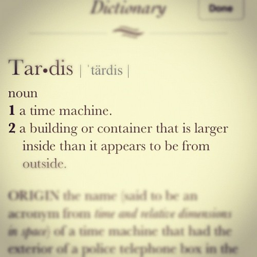 "I looked it up on the iPhone dictionary. Should be ""TARDIS"" as it's an acronym, but I'll let it slide. #DoctorWho #TARDIS (Taken with Instagram at Gallifrey)"