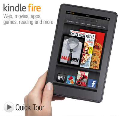 Kindle Fire $199 Movies, apps, games, music, reading and more, plus Amazon's revolutionary, cloud-accelerated web browser   19 million movies, TV shows, songs, magazines, and books Thousands of popular apps and games, including Netflix, Hulu Plus, Pandora, and more Ultra-fast web browsing - Amazon Silk   Free cloud storage for all your Amazon content Vibrant color touchscreen with extra-wide viewing angle - same as an iPad Fast, powerful dual-core processor Favorite children's books, graphic novels, and magazines in rich color Click Here to order