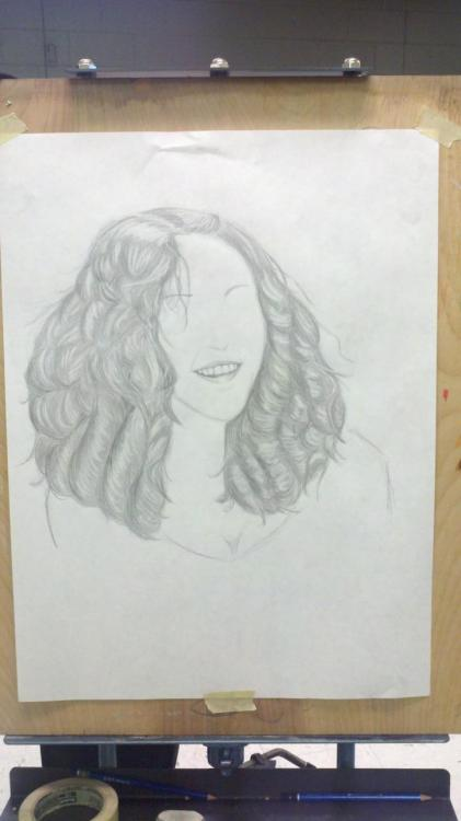 lollerskates44:  A picture a friend drew of me. Much too flattering.  Says you. I think I nailed it.