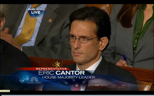 hobbitswizardskitties:  Eric Cantor is not amused.  Best face of the night.