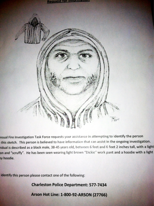 a sketch of the charleston arsonist handed out by the police today to all the elliotborough residents