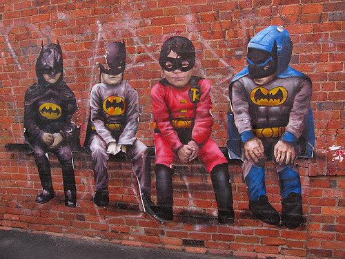 Daily Graffiti: Miniature Heroes in Melbourne, Australia. Wheatpaste spotted by Geoff Stahl. Check out the DAILY GRAFFITI ARCHIVES for more geektastic street art!
