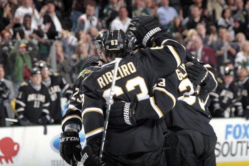 Mike Ribeiro celebrates his assist on Alex Goligoski's game winning goal in the Stars' shutout win over the Anaheim Ducks tonight.