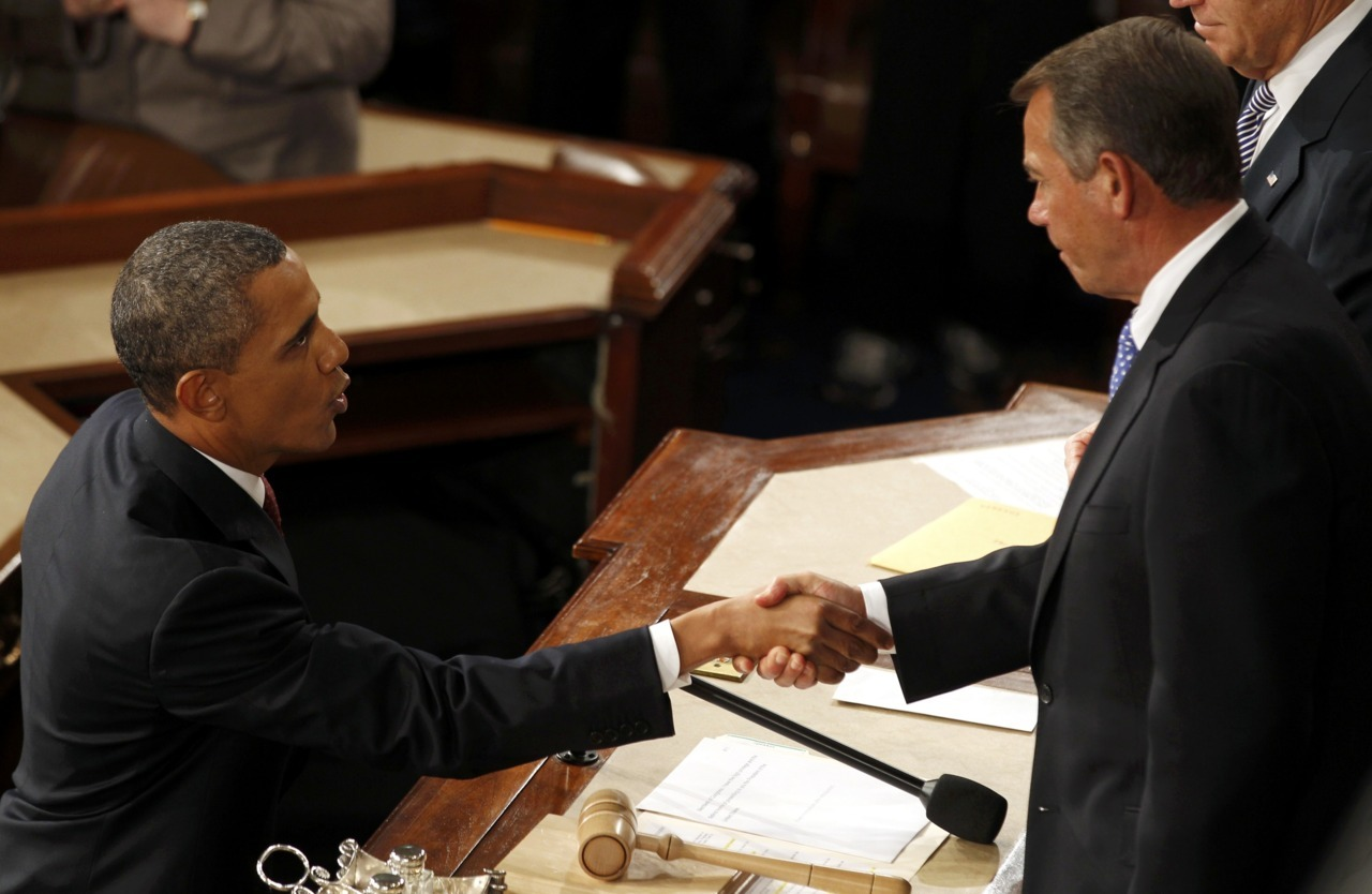 reuters:  U.S. President Barack Obama (L) shakes hands with House Speaker John Boehner, (R-OH), after Obama's State of the Union address to a joint session of Congress on Capitol Hill in Washington, January 24, 2012. [REUTERS/Larry Downing] Read: Obama urges taxing rich, aiding housing in State of the Union