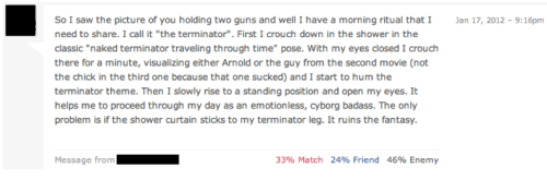 jangsaverem:  I am the Terminator. I've really got to avoid OK Cupid.