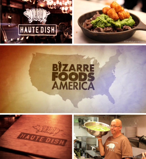 The logo and menu I did for Haute Dish got a few seconds in the limelight on last night's Bizarre Foods America premiere on the Travel channel. That's nice.