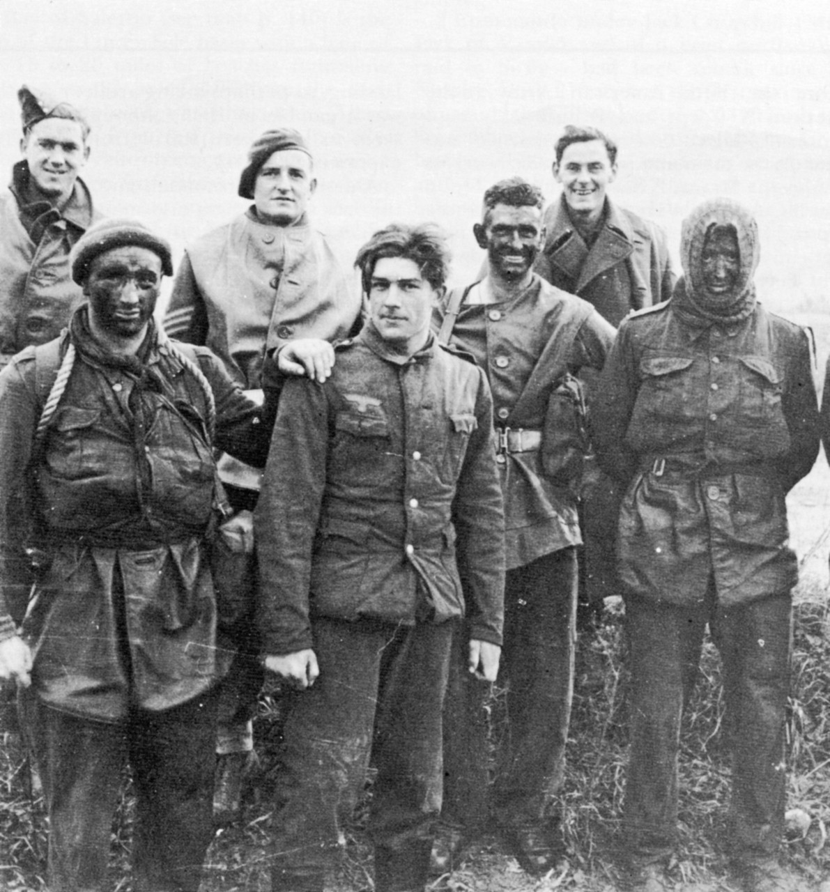 "balalaikaboss:  interiorlines:  British commandos with German prisoner, France, 1944  He looks so happy.  ""I'm going to America! …ladies."""