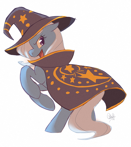 Now we know who the real wizard is! I figured it was time for a pony. I've wanted to draw the Great and Powerful Trixie for a while. So here she is.