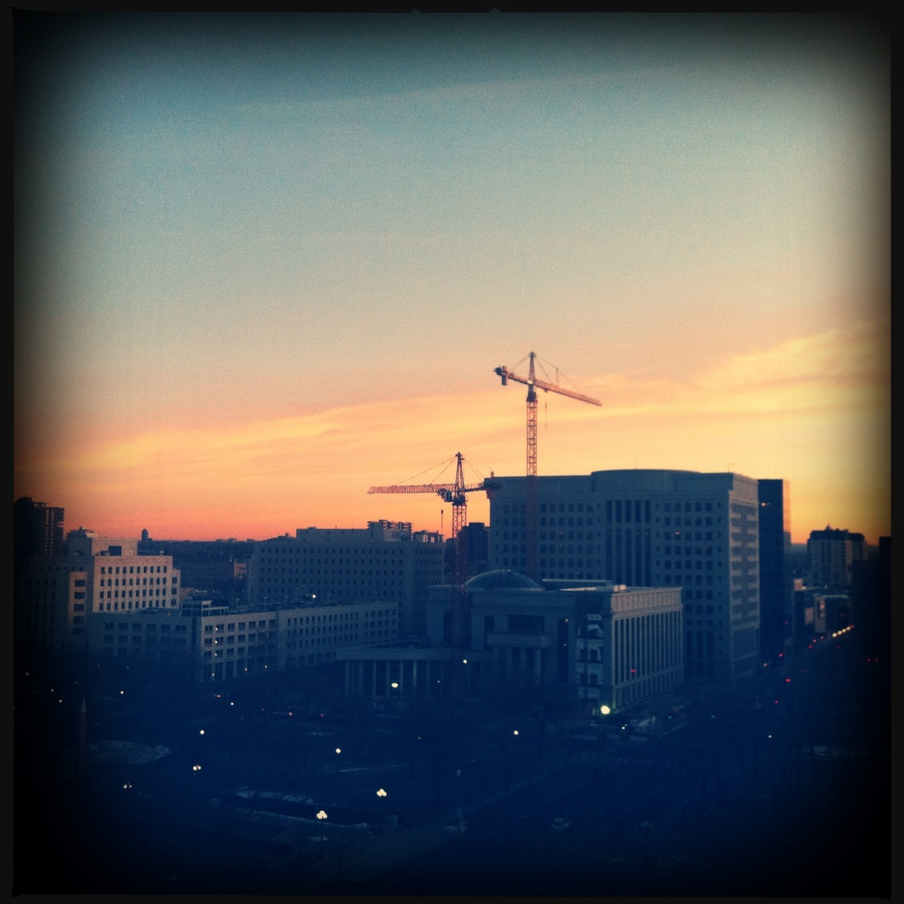 The Cranes, 1/1 Taken with Hipstamatic, Tejas Lens, DC Film, No Flash.