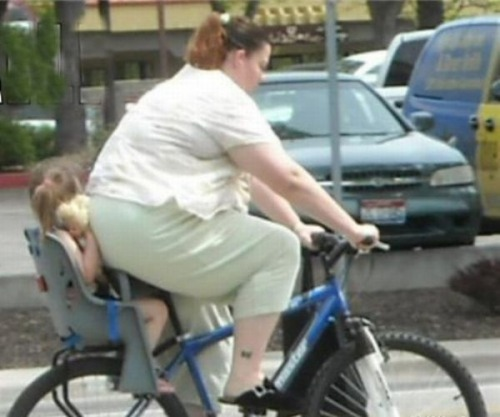 You know you're too fat when… it causes harm to your child. P.S. This bicycle was only made for one.