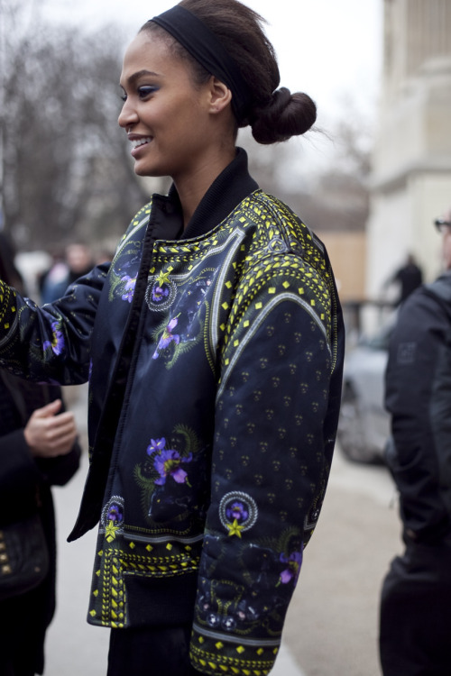 Joan Smalls (IMG, NY) exits the Chanel Couture show