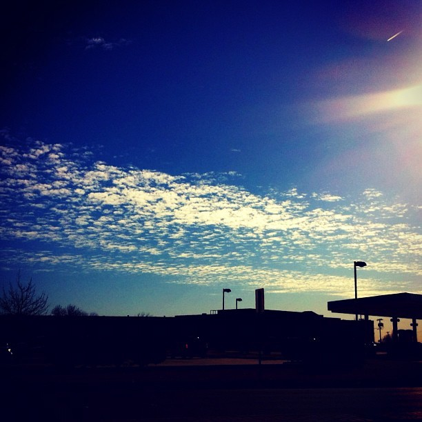 #sky on #street near #gas #station #day #2012 #jan #cloudy #blue #white (Taken with instagram)