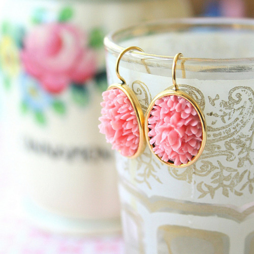 Pink Rose Earrings on Flickr.