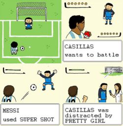 "afootballreport:  Vintage Comic: Casillas wants to battle! With the Spanish press doing their best to verbally abuse José Mourinho and a generally overwhelming vibe ahead of tonight's Clásico at Camp Nou, we thought we would lighten the mood with one of Jon Horner's vintage comics that dates back to the World Cup. This slide is from Jon and Oliver Sparrow's World Cup comic entitled ""Inspector Rooney and the Jabulani Japery"". You can look at all of Jon Horner's work for AFR by clicking here. Real Madrid fans, you better pray a wild pretty girl doesn't appear alongside the pitch tonight."
