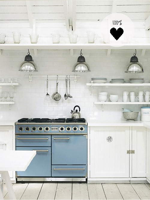 myidealhome:  lovely white kitchen with blue stove (via the style files)