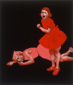 Red Cat Fight Huile sur toile - 48x42 cm - 1999 Dana Holst http://www.danaholst.com/