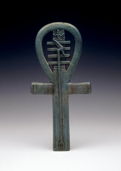 rudjedet:  Faience amulet, 25th Dynasty/Late Period. The Ankh (life), Djed pillar (stability) and the Was sceptre (power) combined.  British Museum, LondonImage courtesty of the British Museum    I have a replica of this hanging outside my door.