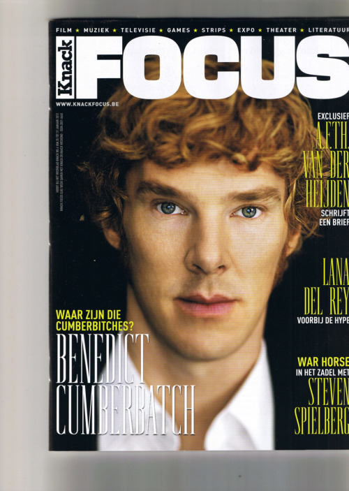 cumberbatchweb:  Rather lovely Belgian magazine with Benedict Cumberbatch on the cover. Even if they have put that dreaded word on the front page! ladyt220:  thedailymailwarnedyouaboutme:   I love Wednesdays and here's why.  I've seen the second one before, but not the cover pic.   I can deal with being called a Cumberbitch… if it's by other Cumberbitches. However, the point is irrelevant. LOOK AT HIS FACE. GAH!
