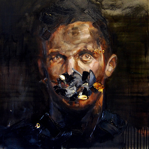"Andrew Salgado - The Silence Consumes Every Move ; Oil on canvas ; 30x30"" / 75x75cm This painting stares back at you with quiet stoicism, but there is plenty of  turmoil in there. On a simple level I see the burden of a man who has to  deal with his problems while pretending that he's fine. The hint of a military uniform suggests the weight of a sense of duty and code  of silence when dealing with conflict and violence. I saw this painting at the London Art Fair last weekend and it made a big impression on me - powerful stuff."