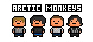 The Arctic Monkeys, derezzed and pixelated from the photograph on this website: http://www.100xr.com/100_XR/Artists/A/Arctic_Monkeys.htm  From left to right : Jamie Cook (lead guitar), Alex Turner (Vocals / Guitarist), Matt Helders (Drums) and Nick O'Malley (Bass Guitar).  I'm not too fond of derezzing real people, but I hope they at least resemble what they are supposed to.  Requested by: http://chicle-azul.tumblr.com/