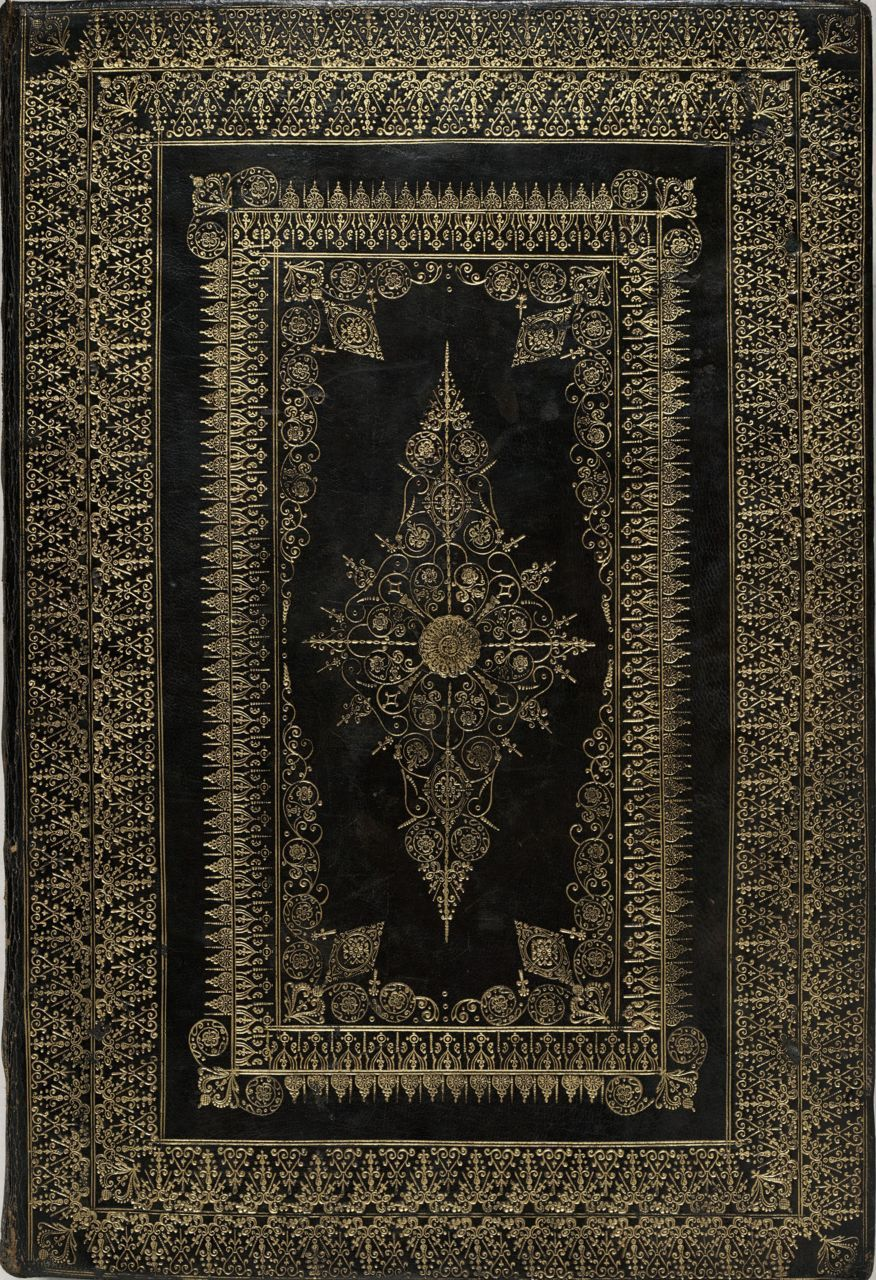 The Book of Common Prayer- Fine binding of black goatskin with rich and elaborate gold tooling on both the cover and flat spine. The binding is attributed to Hugh Hutchinson on the later-added velvet-lined oak case, but John Houlden of Cambridge is a more likely possibility, c. 1640