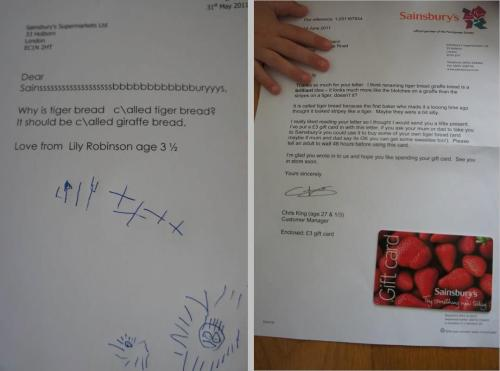 Nice Customer Service by Sainsbury's For better resolution click on the picture above!