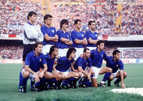 Remembering a day when the Azzurri were not as lucky in their penalty kicks. They lost this semi-final match to Argentina (who eventually lost to West Germany). Italy's opponent in the third place match, England, had also lost their semi-final match on penalties to the Germans. Italy beat England in that match as well, but they managed to do it without extra time/penalties.  Also-Maldini is 21 here, but he looks EXACTLY the same as when he retired.  interleaning:  Azzurri to face Argentina in the semifinal of World Cup 1990:  Walter Zenga, Paolo Maldini, Fernando de Napoli, Riccardo Ferri, Beppe Bergomi; Franco Baresi, Giuseppe Giannini, Roberto Donadoni, Toto Schillaci, Gianluca Vialli, Luigi de Agostini
